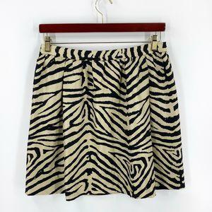 Michael Kors Silk Skirt Size 12 Tan Black Zebra